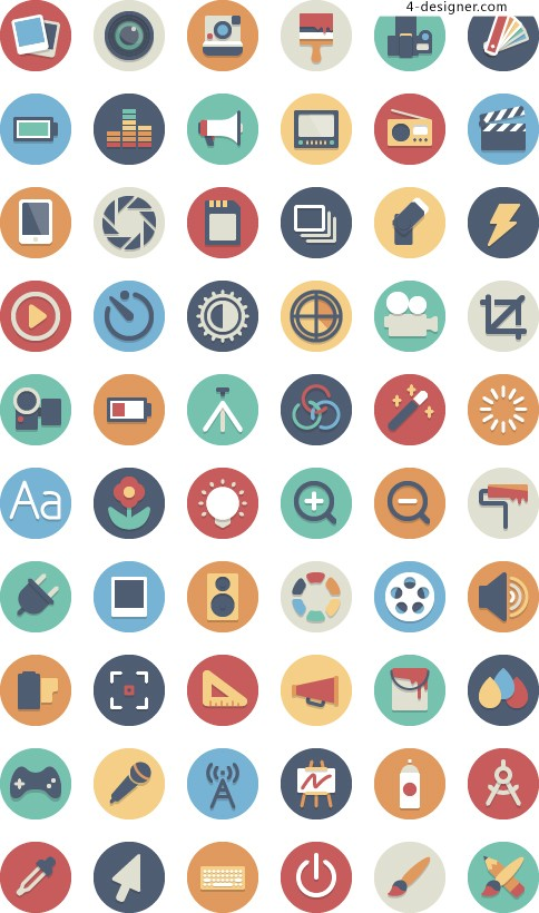 Phone APP flat circular design material color icon collection 3