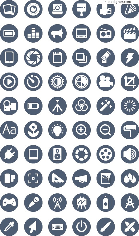 Phone APP round flat monochrome icon design linear material collection 3