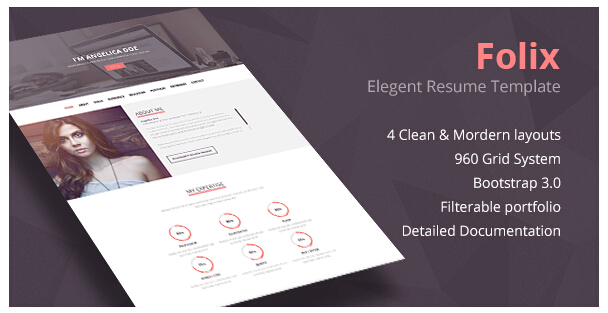 Designers biographical PSD template in English