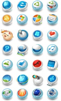 3D crystal sphere system icons