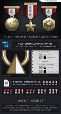 3D medals theme icon material