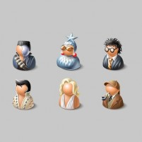 6 3D effect cartoon characters icon