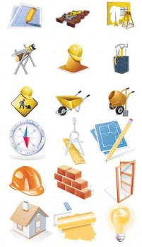 A variety of construction industry category icon vector material