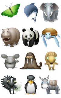 A variety of cute animal icon material