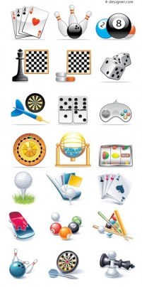 A variety of entertainment and leisure goods icon vector material