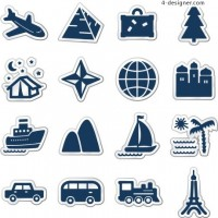 Blue sticker style transportation theme icon vector material