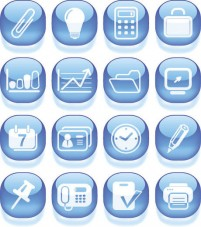 Business Icons variety of blue material