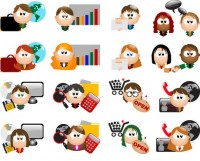Business communication personnel cartoon icon material