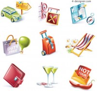 Cartoon style travel supplies vector icon material