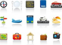 Colorful travel theme icon material