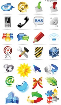 Communication theme icon vector material