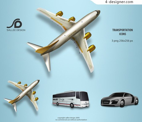 Cool airplane bus car icon png