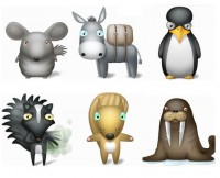 Cute animal icon material a
