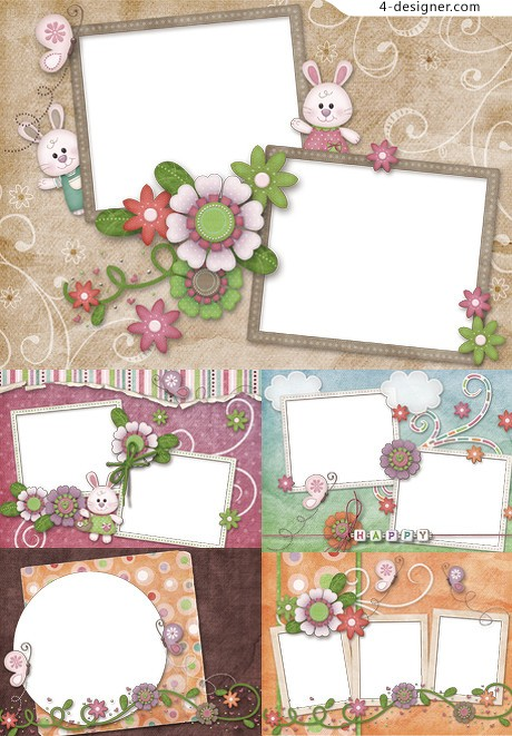 Cute floral frame png icon material