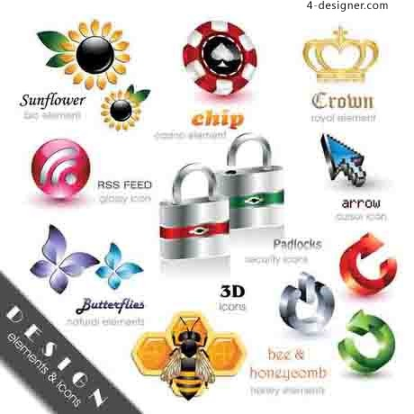 Exquisite 3D icon vector material 03