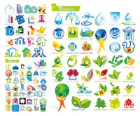 House with ecological theme icon vector material