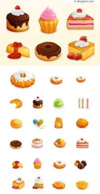Lovely dessert theme icon vector material