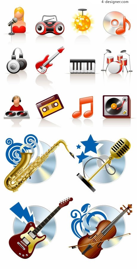 Music theme icon element vector material