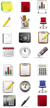 Office supplies icon vector material