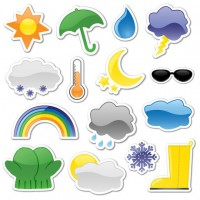 Sticker style weather icon vector material
