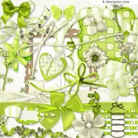 Summer fresh green theme jewelry png material