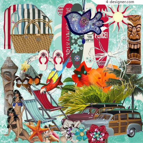 Tourist seaside resort theme png material