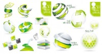 Two sets of Green 3D icon vector material
