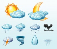 Variety climate weather icon material