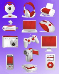 Variety red digital theme icon material
