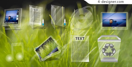 Vista style icon transparent glass material