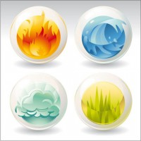 Water fire and other natural phenomena icon vector material