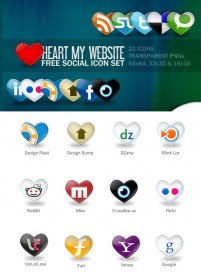 Web 20 applications pretty heart shaped icon material