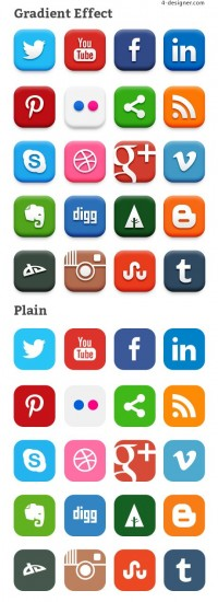 20 social network icon material