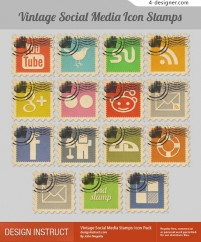 Vintage stamps social network icon material