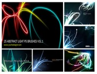 6 linear colorful light effects ps brush material