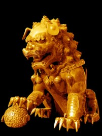 Chinese traditional copper gilt lion psd material