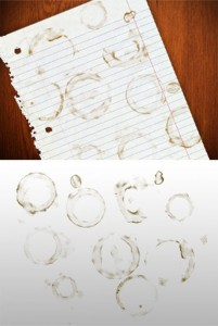 Coffee cup stains photoshop brushes