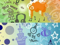 Hand painted children s theme Ps brush material