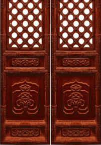 Traditional old house red carved wooden doors psd material