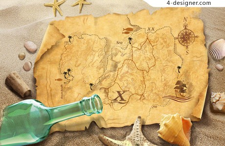 Treasure map PSD material