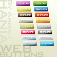Variety of colored buttons PS Layer Styles material