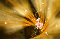 Yellow fantasy floral background PSD material