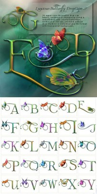 Beautiful butterfly and 26 letters of the alphabet psd material