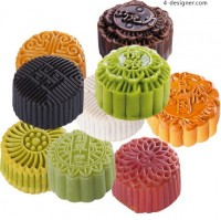 Colorful Autumn moon cake delicious psd material
