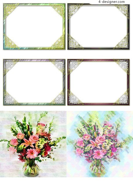 Flowers and decorative borders png material