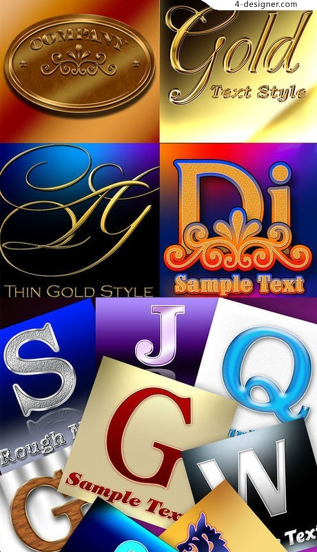 Gorgeous Colorful alphabet styles psd material