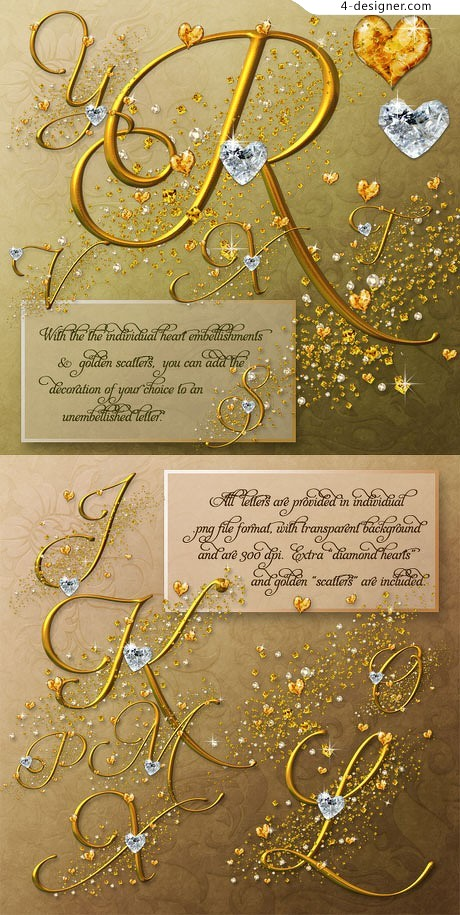 Gorgeous sparkling diamond decoration _ a combination of letters of the alphabet psd material elements