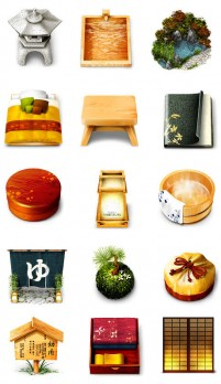 Japanese style icons PNG material