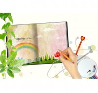 Notebook psd material rainbow illustration