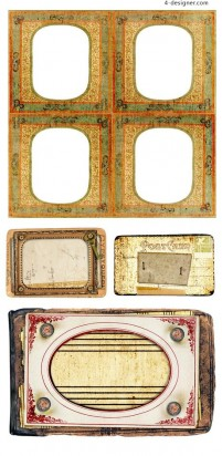 Retro style title box blank material PNG
